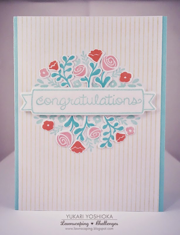 "Wedding Card by Handmade by Yuki | ""Penelope's Blossoms"" by Lawn Fawn"