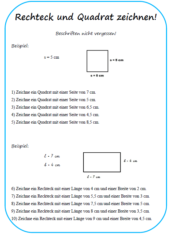 Arbeitsblatt Flächeninhalt Rechteck Und Quadrat: Flächeninhalt eines ...