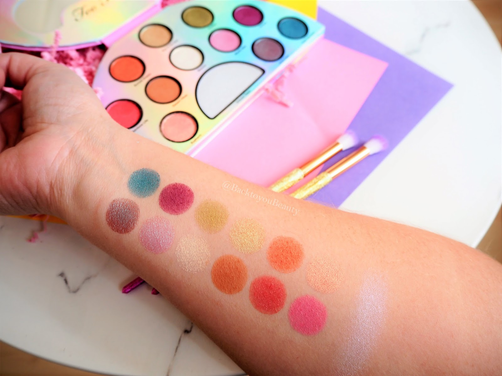 Too Faced Life's A Festival Palette Swatches
