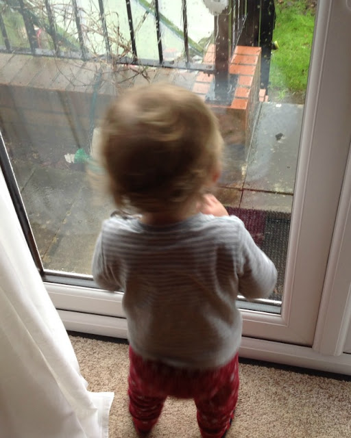 Toddler looking out of patio doors