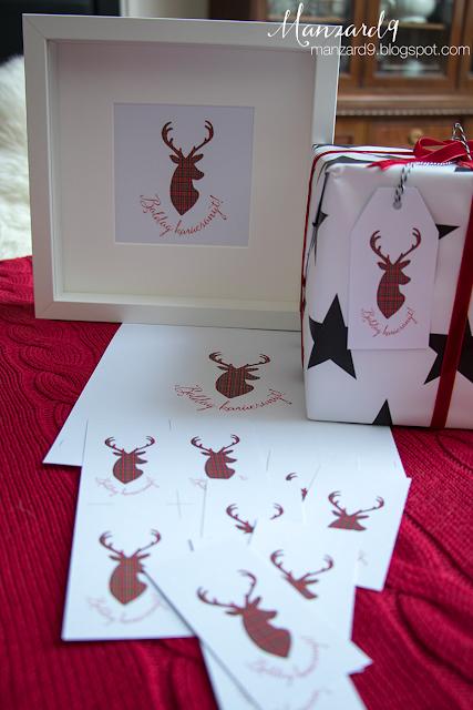 Karácsonyi kártyák, dekor - skótkockás szarvas-sziluett I Manzard9