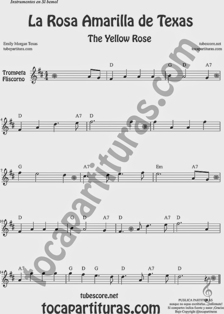 La Rosa Amarilla de Texas Partitura de Trompeta y Fliscorno Sheet Music for Trumpet and Flugelhorn Music Scores The Yellow Rose de Emily Morgan
