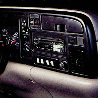 image in color of the interior of Matt Billmeier's 1995 Dodge Ram truck  highlighting the radio