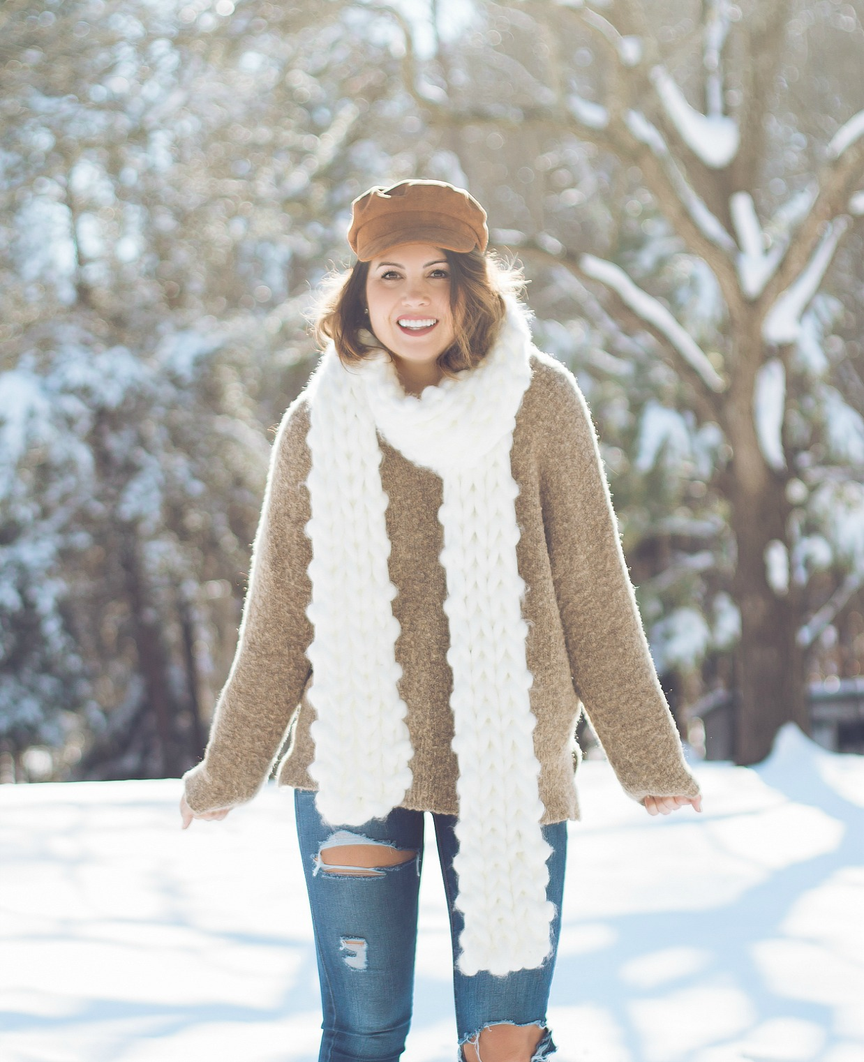 free people winter outfit, nc snow day, nc photographer, greensboro photographer, xo samantha brooke, life and messy hair, fashion blogger, free people, chunky knit scarf, ugg boots, winter fashion, sam brooke photo