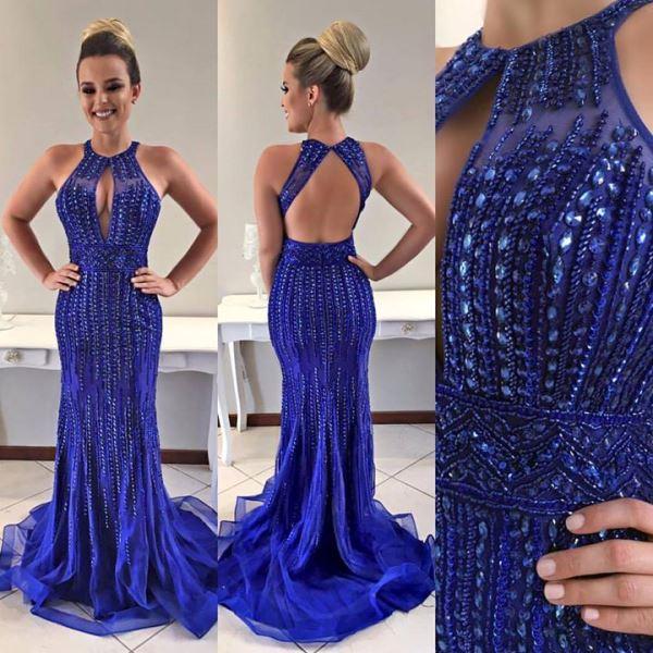 Vestido de festa azul royal casamento