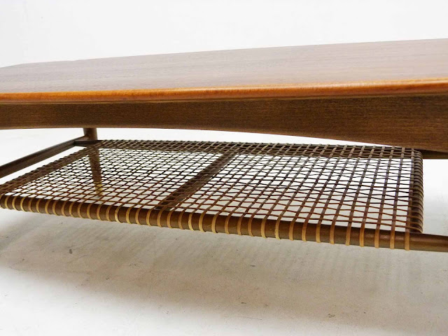 Dux Teak Walnut Cane Shelf Surfboard Coffee Table Magazine Rack