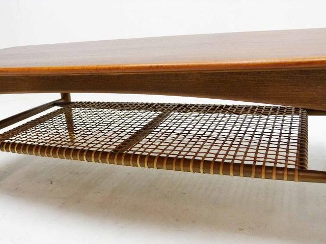 Dux Teak Walnut Cane Shelf Surfboard Coffee Table Magazine Rack
