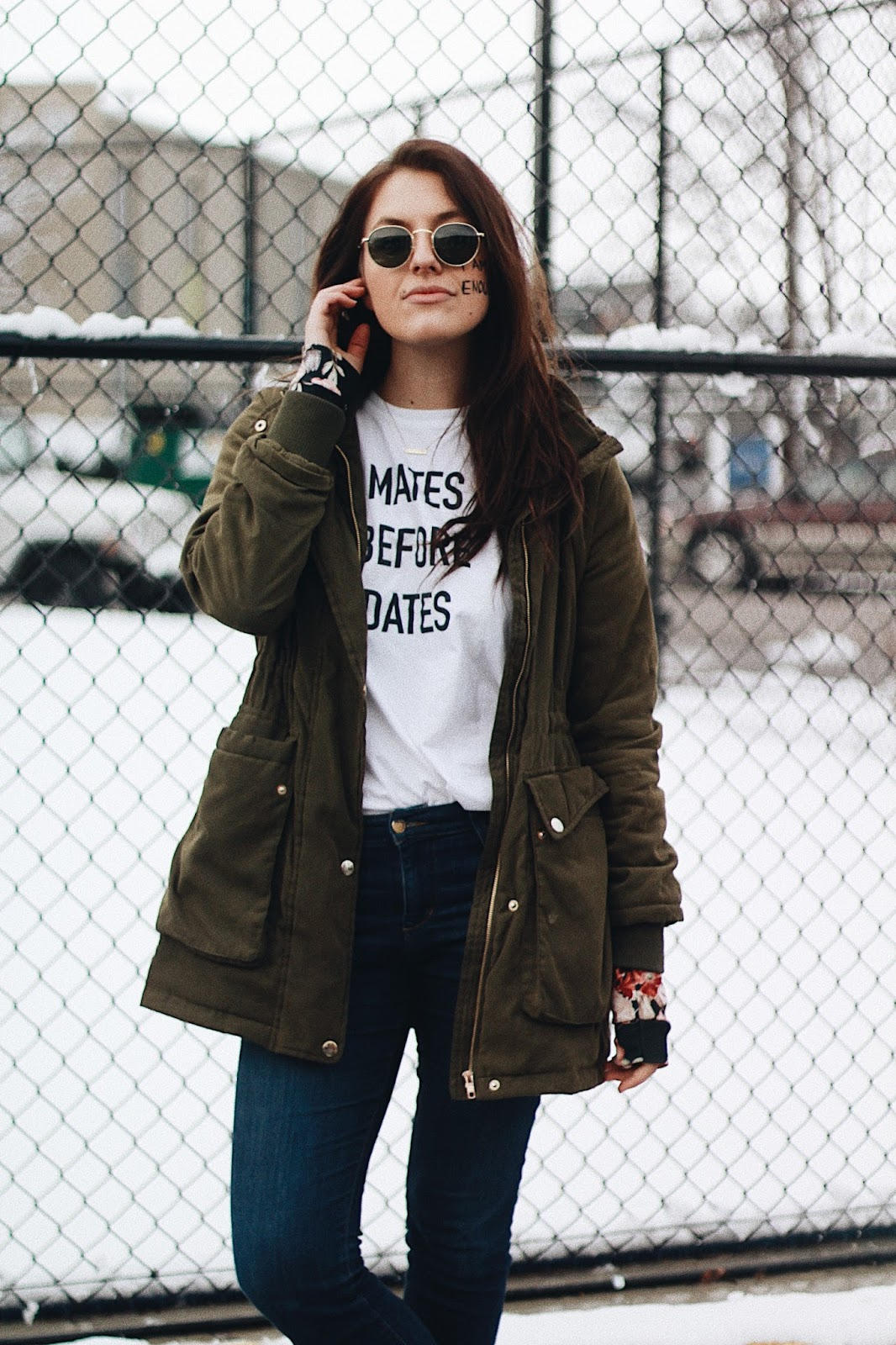 olive green cargo jacket grunge winter look