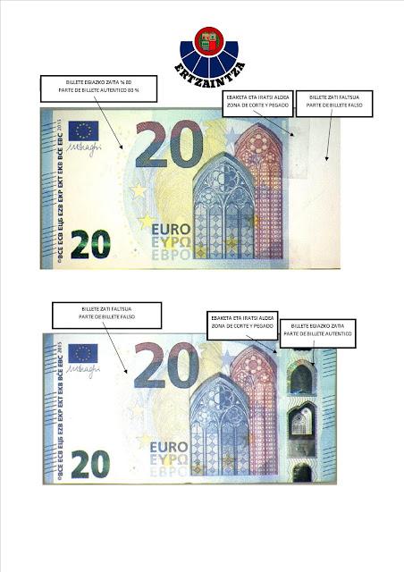 Datos de los billetes falsificados