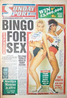 Front page of the Sunday Sport from 17 Jan 1988