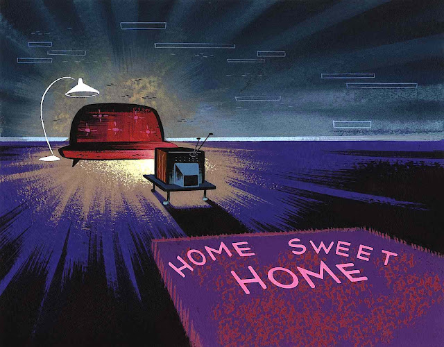 "a Scott Wills animation background, ""Home sweet home"""