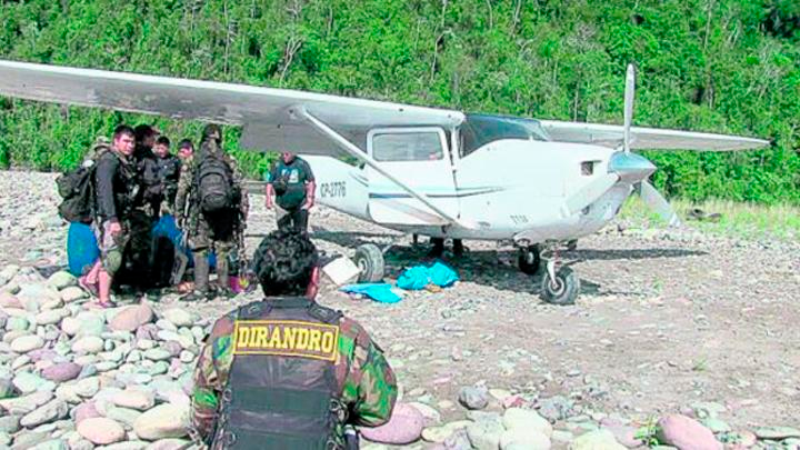 Avioneta boliviana intervenida en el Valle de los ríos Apurímac, Ene y Mantaro (Vraem)