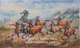 lukisan kuda berlari kencang