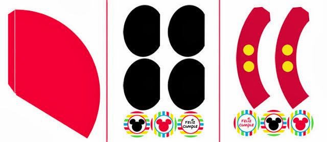 Mickey Mouse Free Printable Hats and Cupcake Wrappers and Toppers.