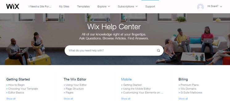 Opsi Bantuan Wix