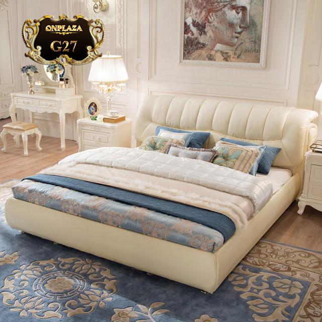 Giường ngủ bọc nệm da hiện đại sắc trắng tinh tế