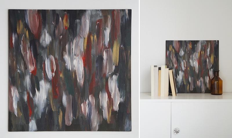 Acrylmalerei abstrakt weiß grau rot Kunst als Dekoration