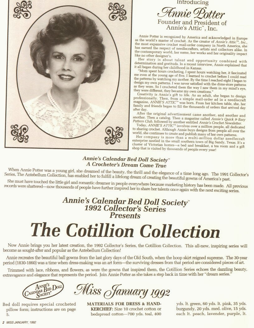 Vestido de Crochê Para Barbie The Cotillion Collector Miss Janeiro 1992