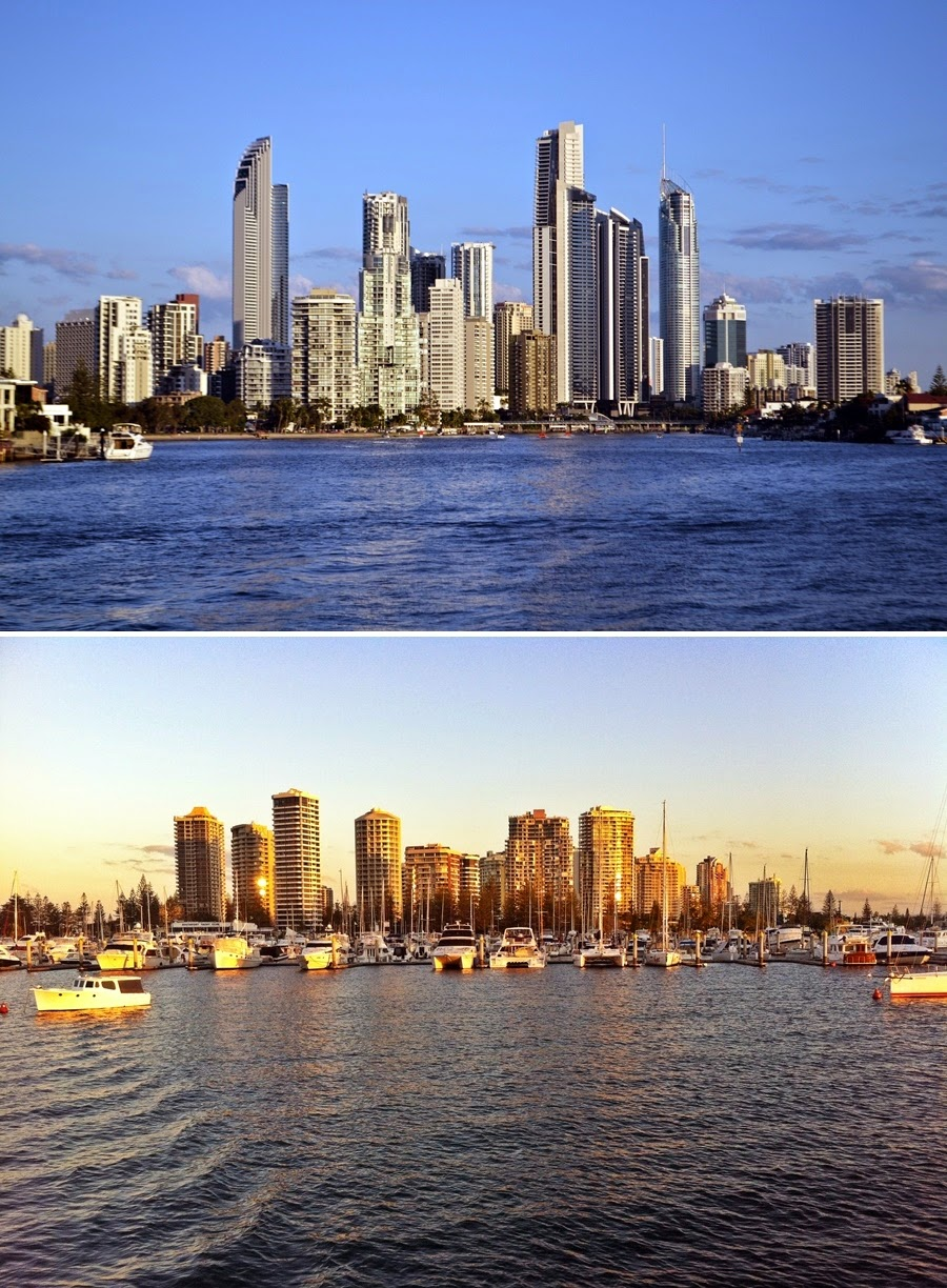 Gold coast, surfers paradise, skyline, sunset