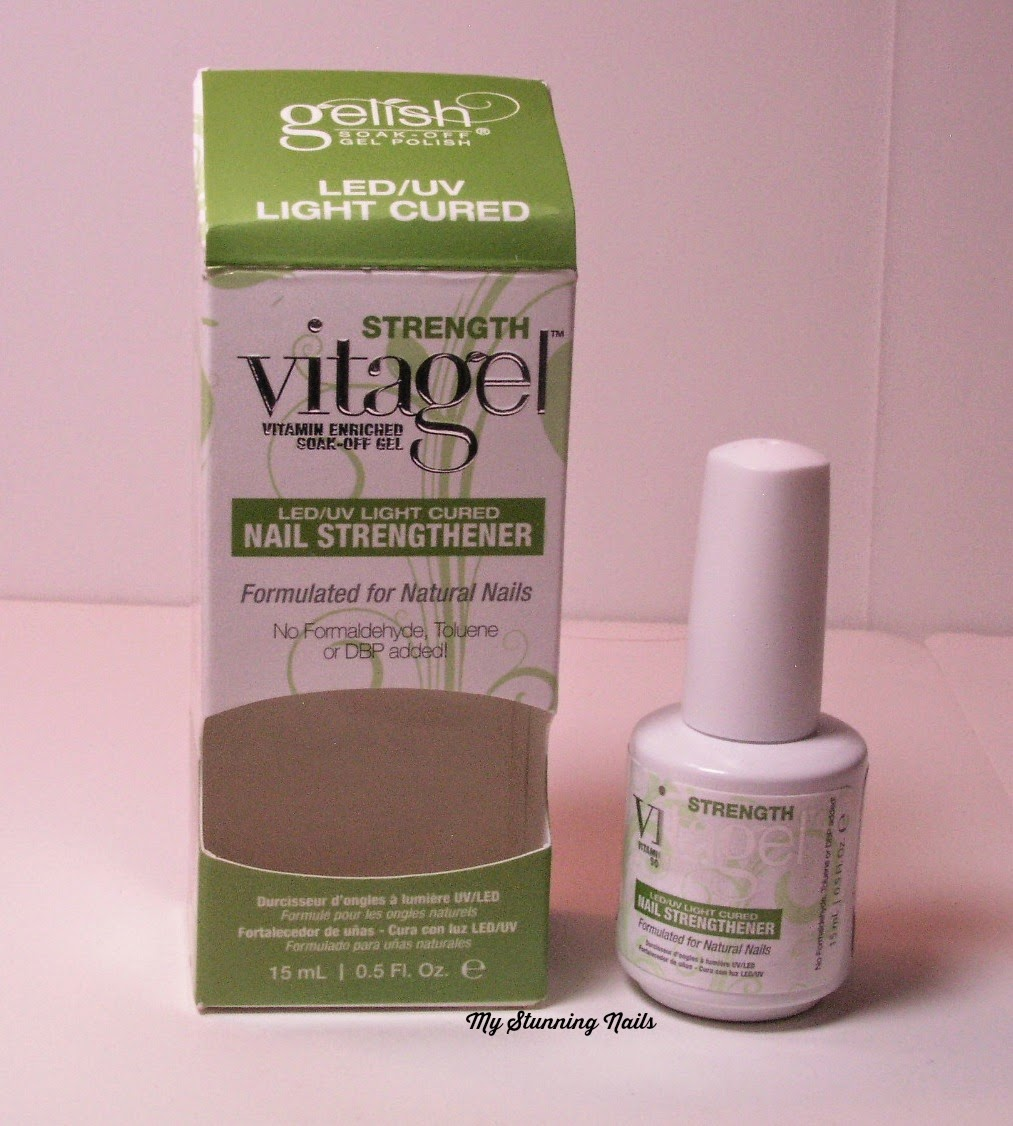It is an LED/UV light cured vitamin nail strengthener. It is Formaldehyde, Toluene and DBP free. Gelish® VitaGel™ STRENGTH is ...