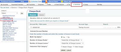 Order Cheque Books Through SBI Online Banking