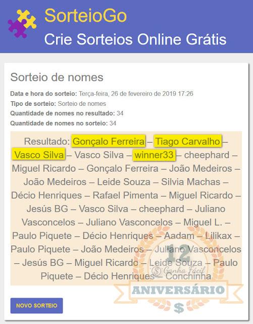 sorteio prémios aniversário gonçalo ferreira vasco silva winner33 Tiago Carvalho
