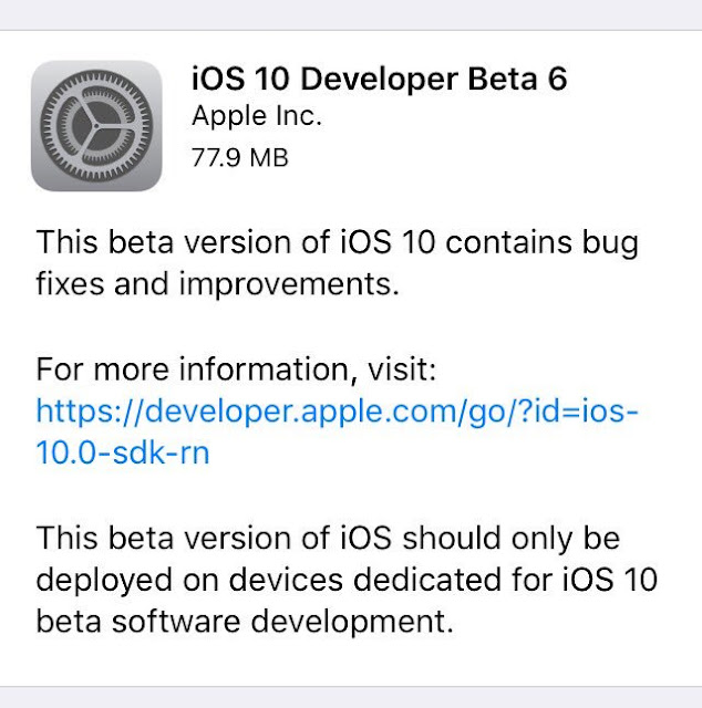 Apple has released iOS 10 beta 6 to developer testers for iPhone, iPad and iPod touch. iOS 10 Beta 6 comes just one week after the iOS 10 beta 5 is released.