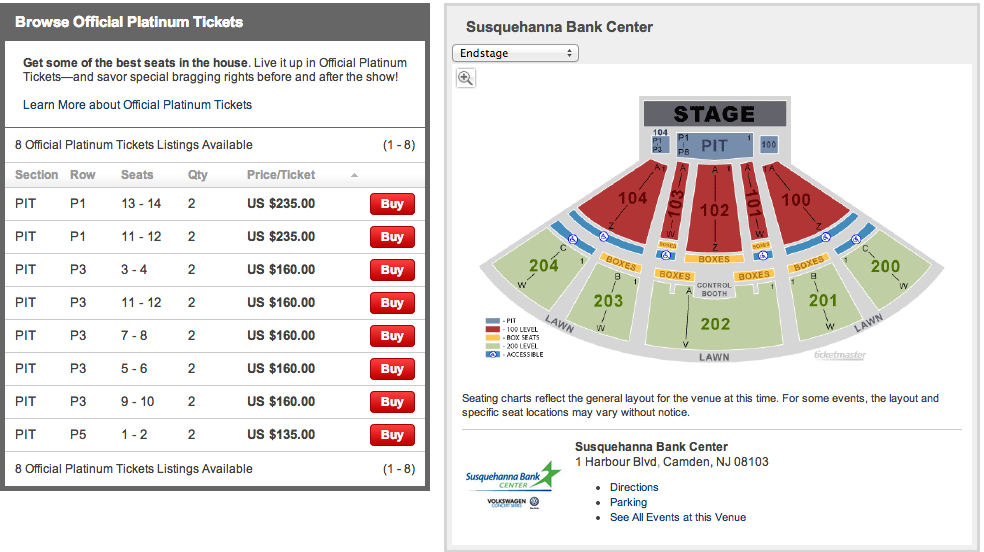 susquehanna bank center seating - BB&T Pavilion (Formerly Susquehanna) Camden Tickets Schedule