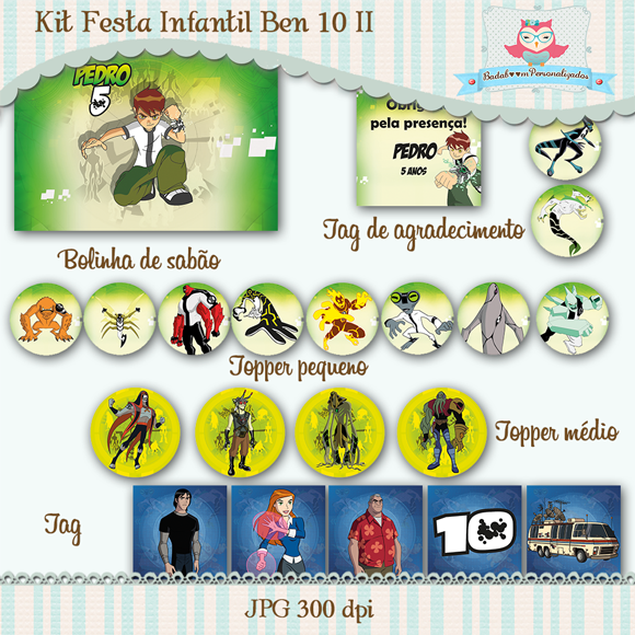 kit, festa, infantil, ben 10, heróis, arte, digital, bolinha de sabão, topper, tag, tag agradecimento, rótulos, tags
