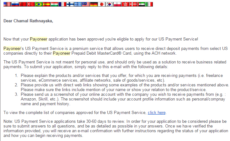 you are not eligible to apply for us payment service
