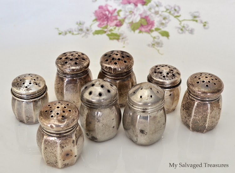 repurposed DIY silver salt and pepper shaker necklaces