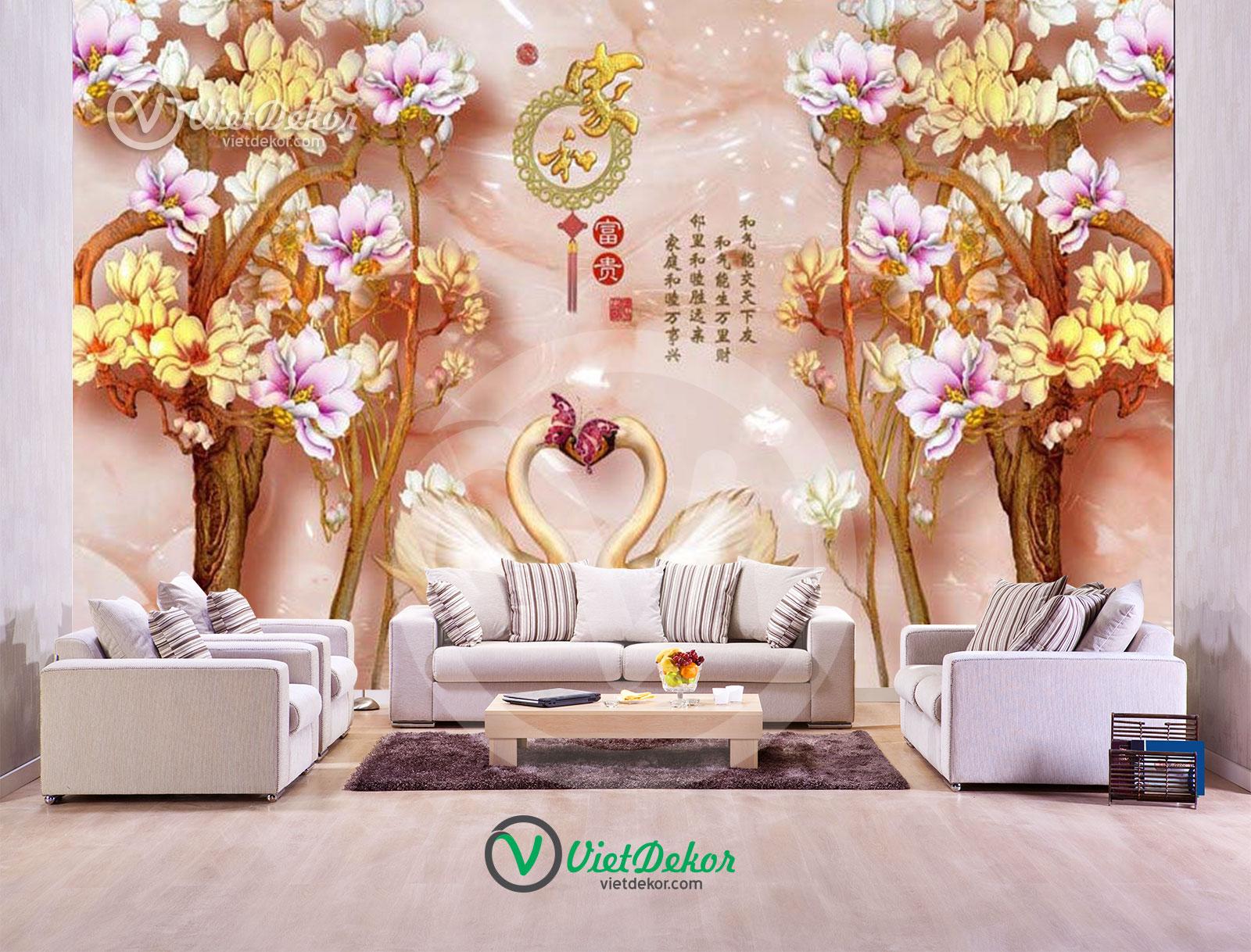 Tranh 3d dán tường hoa đào thiên nga trang sức