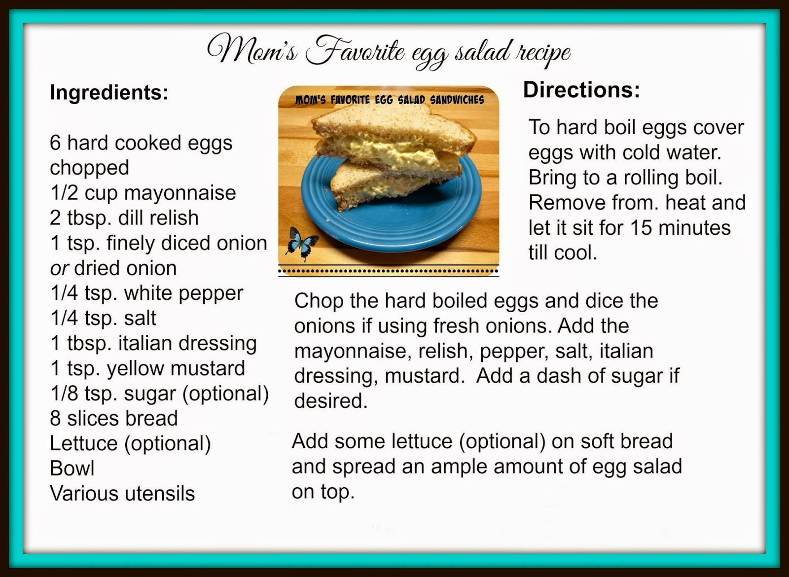 Egg salad recipe card