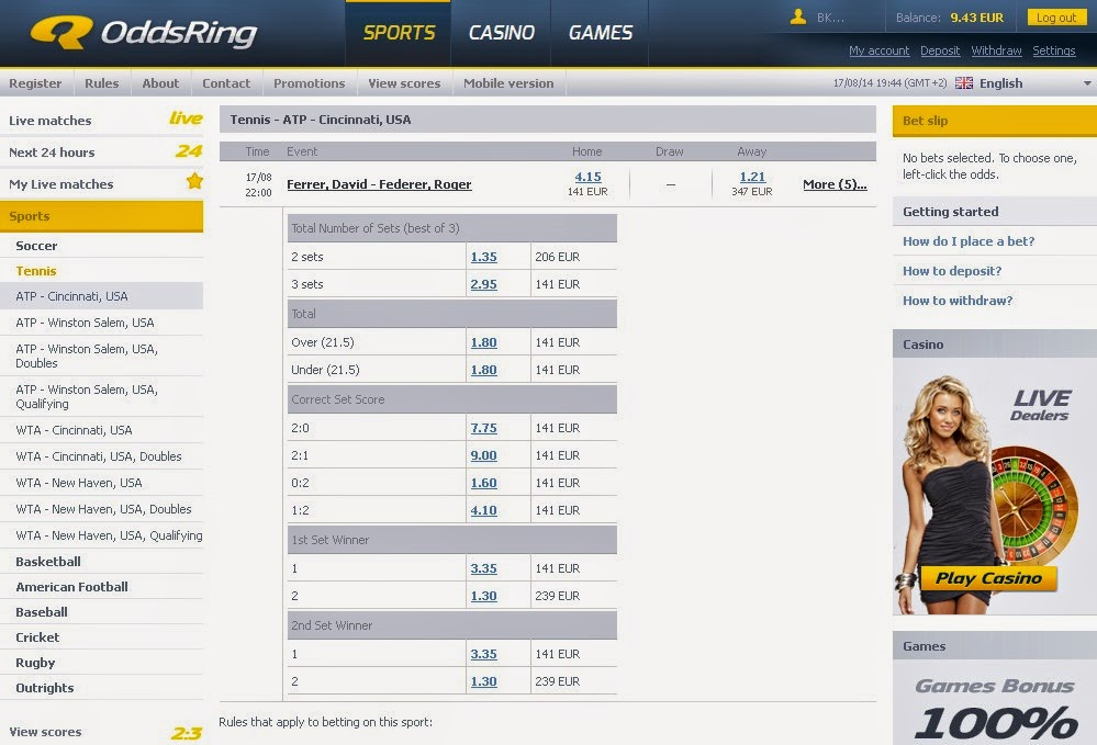 OddsRing Sportsbook Screen