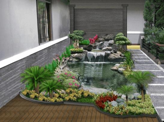 Konsep Tropis Taman Batu Alam Rumah Minimalis