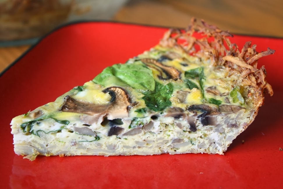 Hashbrown Spinach and Mushroom Quiche