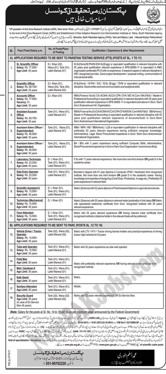 Agriculture Research Department Govt of Pakistan New Jobs March 2018