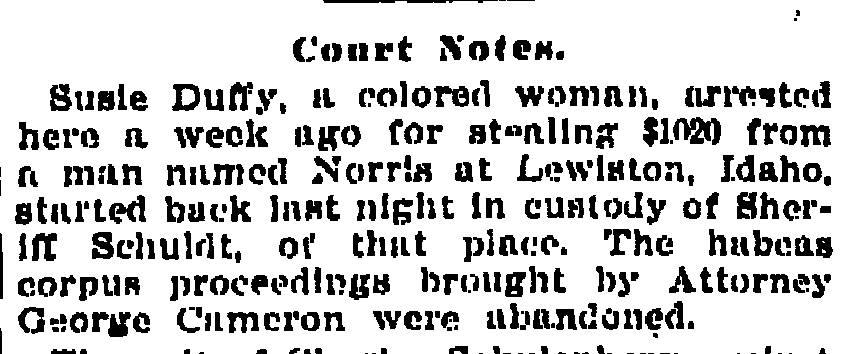 Criminal Genealogy: Miss Susie Duffy: Grand Larceny