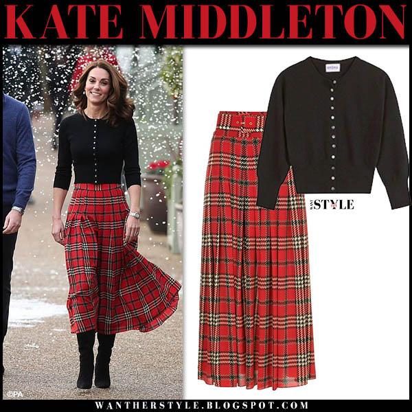 Kate Middleton in black brora cardigan and red plaid tartan pleated midi skirt emilia wickstead royal family holiday style december 4