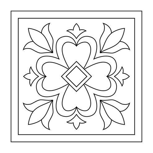 Tranh tô màu trang trí hình vuông cơ bản