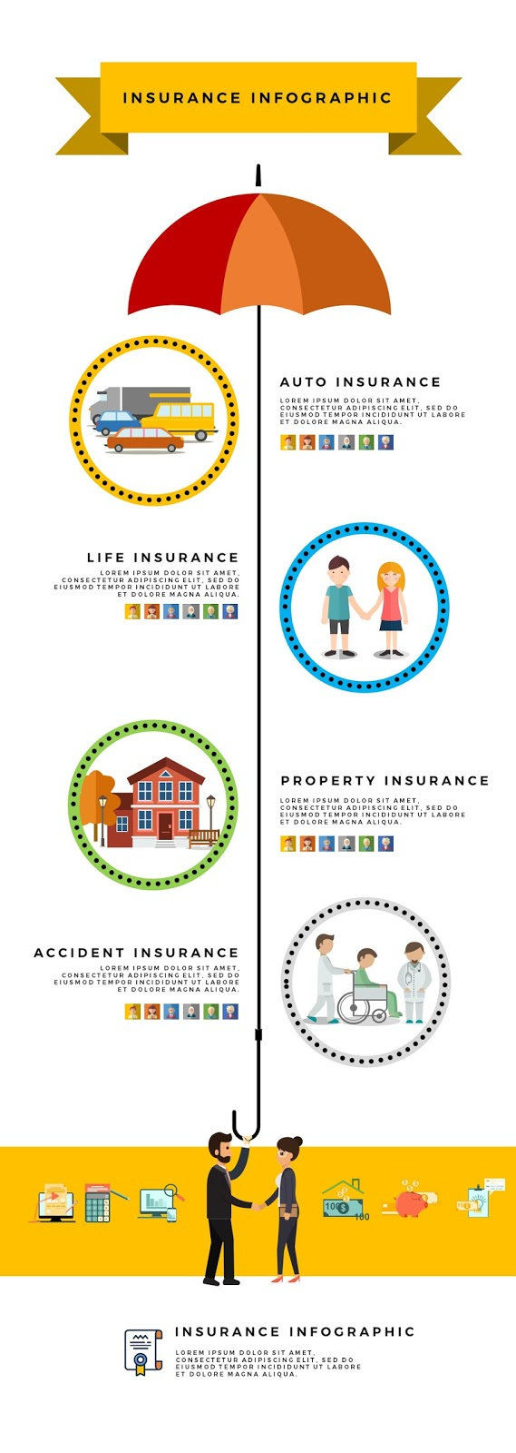 Versatile Insurance Infographics for Free Powerpoint Templete with Graphic Vector Elements