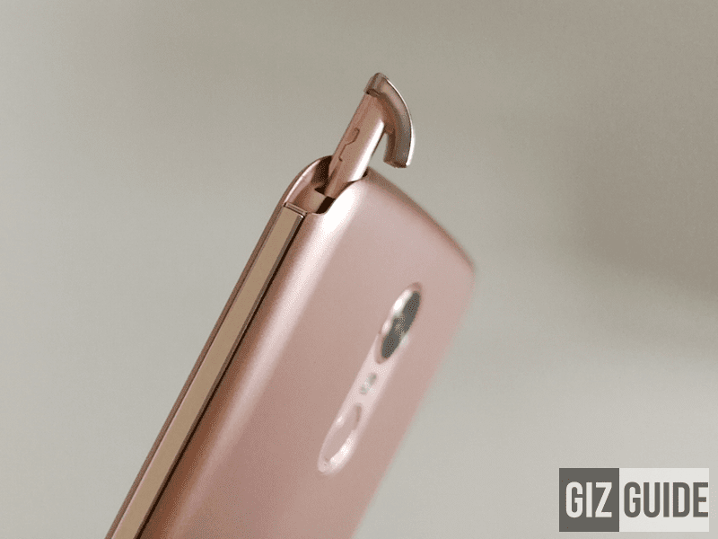 Stylus placement on the upper right side