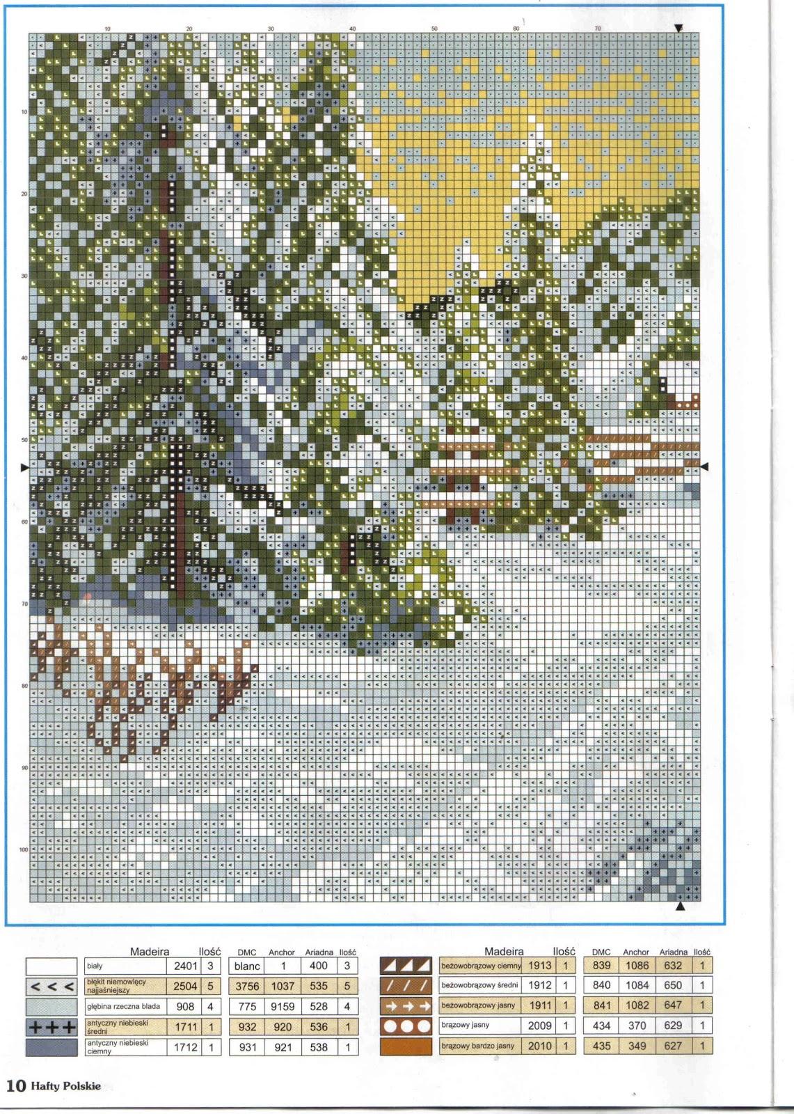 Схема вышивки «зимний пейзаж» вышивка крестом.