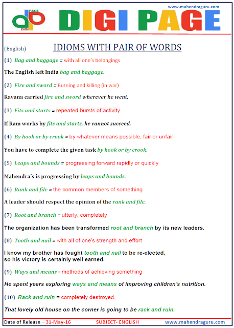 Digi Page-Idioms with Pair of Words