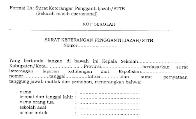 Format Resmi Surat Keterangan Kesalahan Penulisan Ijazah/STTB Tahun 2017