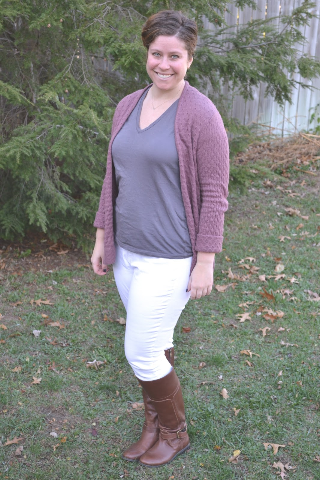 d3c8b5e836b I knew that my textured mauve sweater would be a good stand-in for the chunky  blush cardigan in the photo!