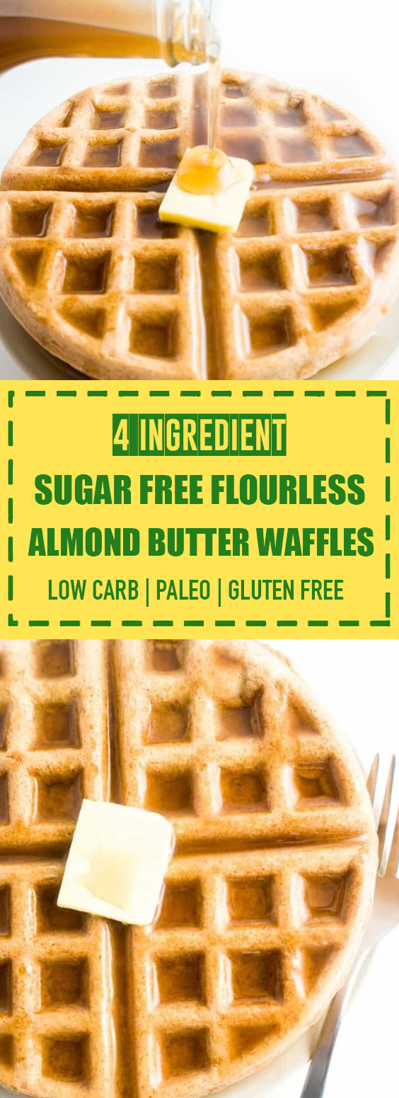 Sugar Free Flourless Almond Butter Waffles
