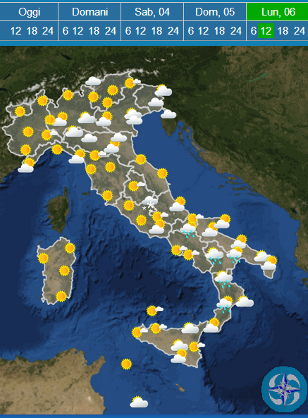 Weather forecast Easter 2015 in italy