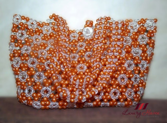 diy beaded handbag crafts orange white
