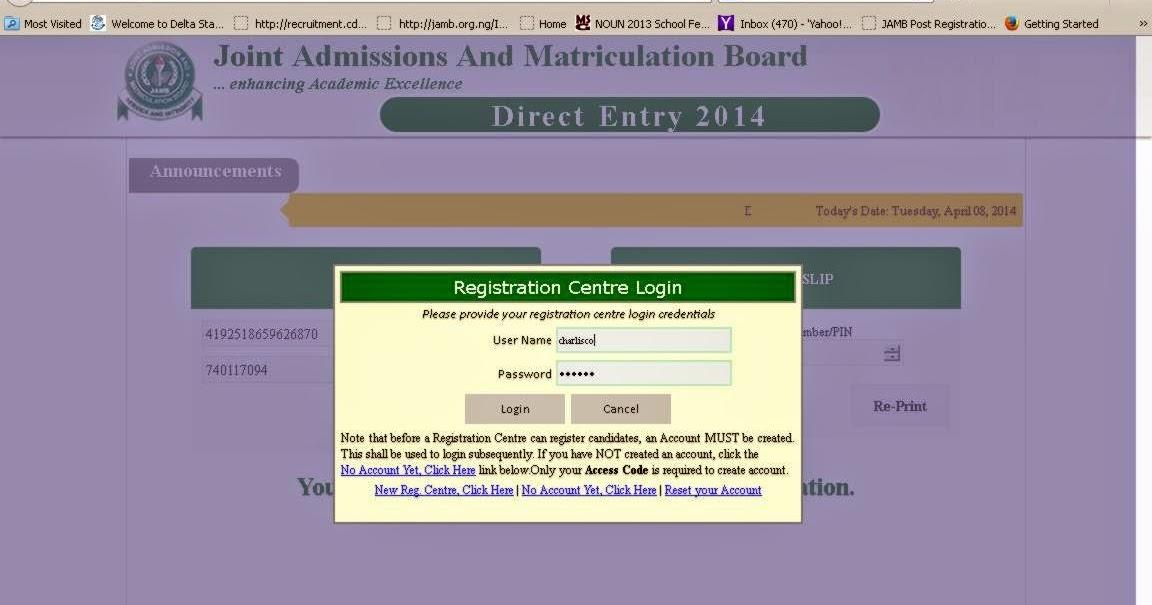 JAMB DIRECT ENTRY FORM STEP BY STEP ONLINE REGISTRATION PROCEDURE FOR UNIBEN, AAU, NDU, DELSU E